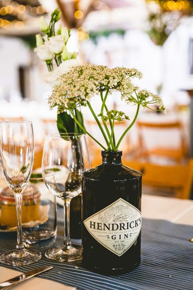 Gin Table Decor For Wedding // The Old Parish Rooms Rustic Wedding With Giant Banner For Sweetheart Table And Images From Love That Smile Photography Film From White In Motion