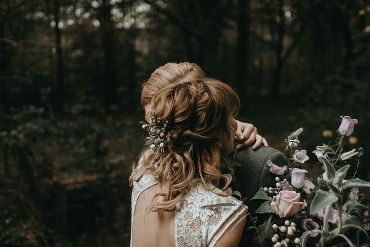Pinned Wavy Half Up Half Down Wedding Hair with Fresh Flowers