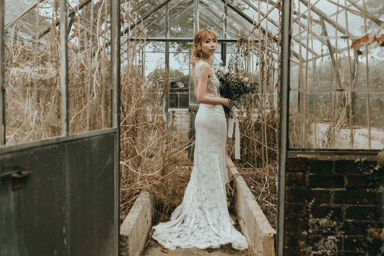 Asian Bride in Lace Bohemian Wedding Dress