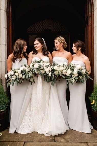 Strapless light grey bridesmaid dresses