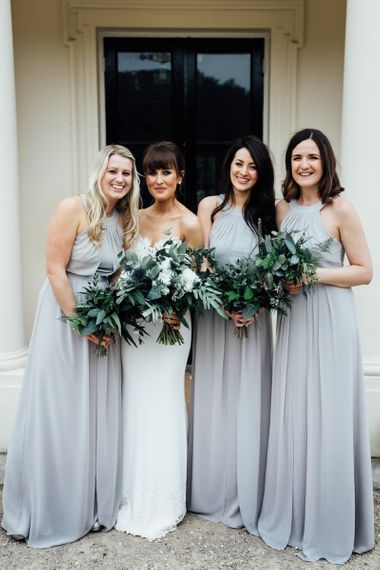 Elegant pastel grey bridesmaid dresses