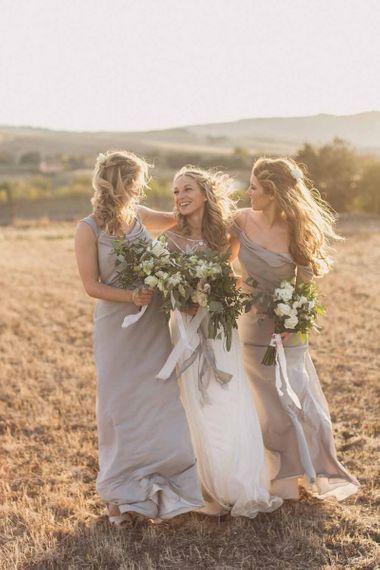 Satin grey bridesmaid dresses