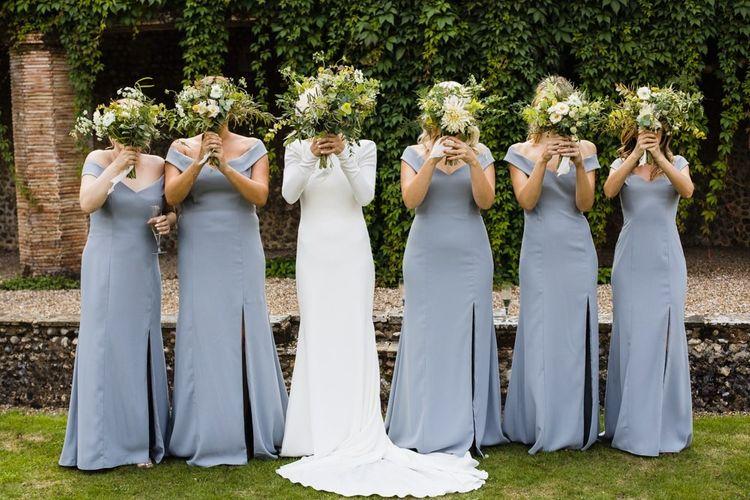Bardot grey bridesmaid dresses