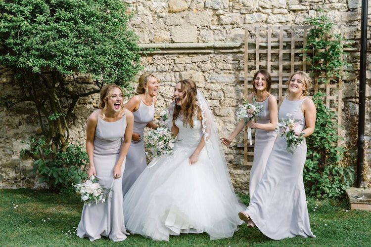 High neck grey bridesmaid dresses