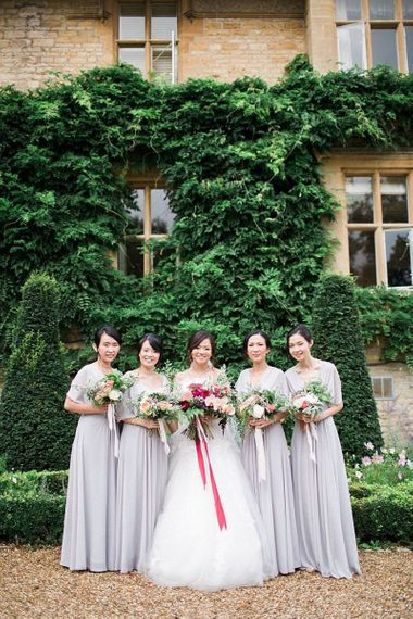 Bridesmaids in grey Love Potion Dresses