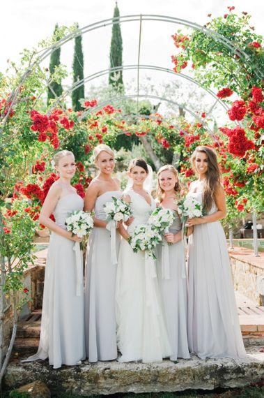 Pale grey strapless bridesmaid dresses
