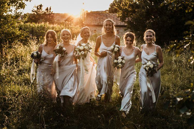 Silver satin spaghetti strap bridesmaid dresses
