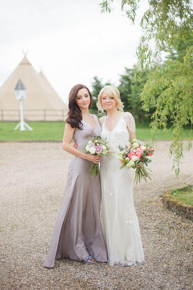 Grey satin bridesmaid dress