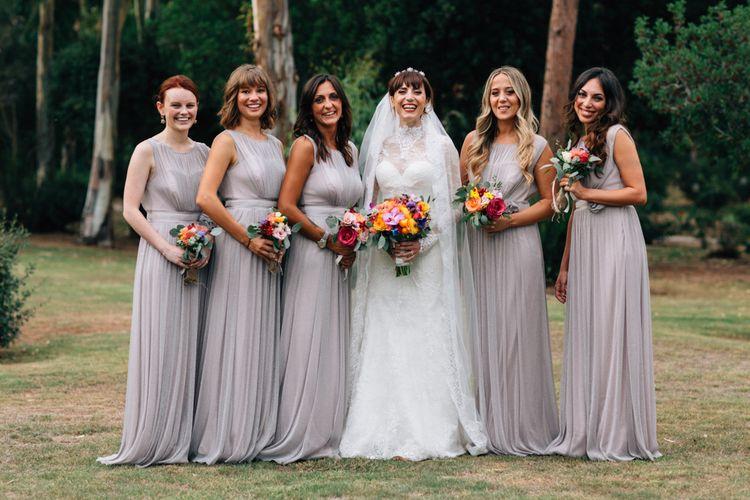 Chiffon grey bridesmaid dresses