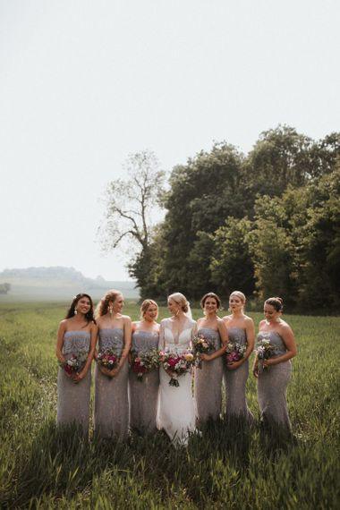 Lace grey bridesmaid dresses