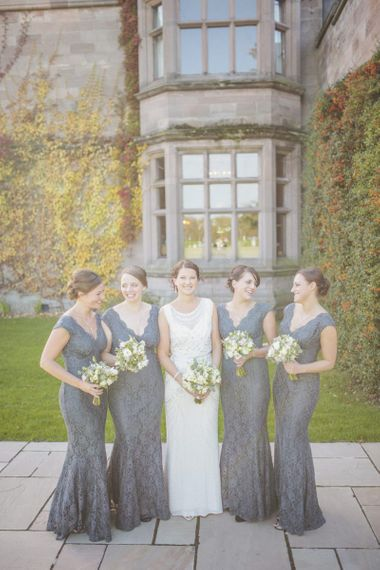 Fitted grey lace bridesmaid dresses
