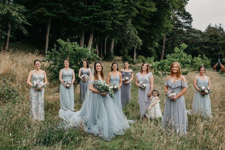 Mis-match grey bridal party portrait