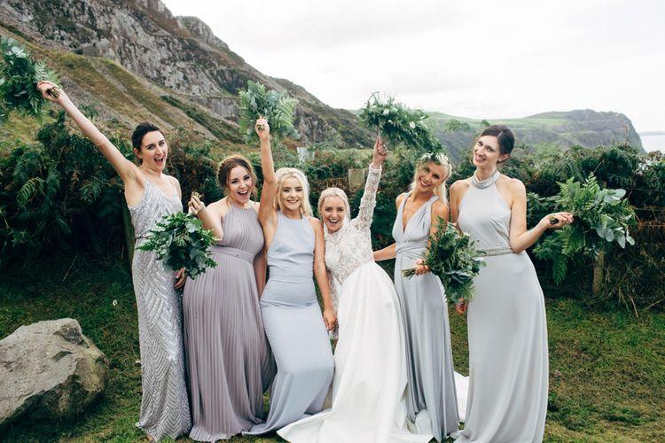 Mis-match grey bridesmaid dresses