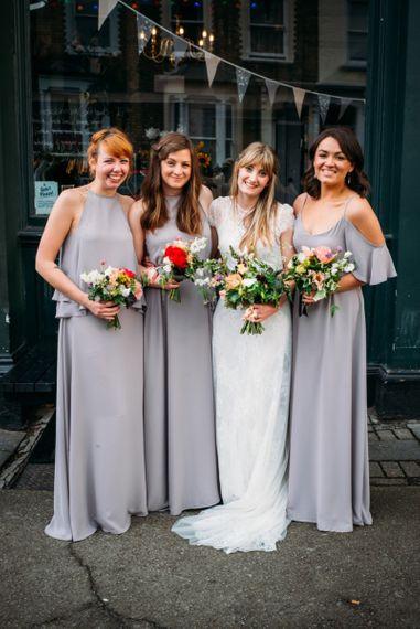 Grey mis-match Rewritten bridesmaid dress styles