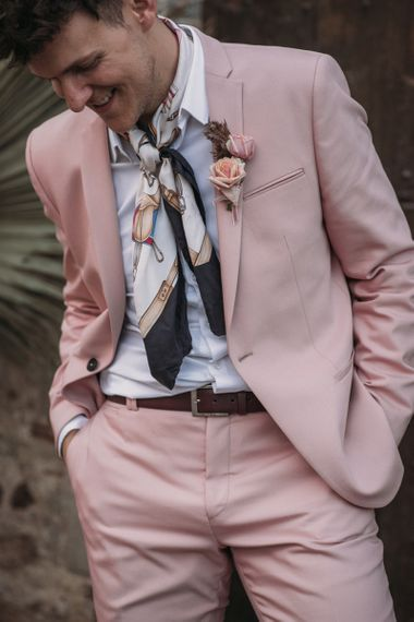 Pink Wedding Suit with Neck Scarf