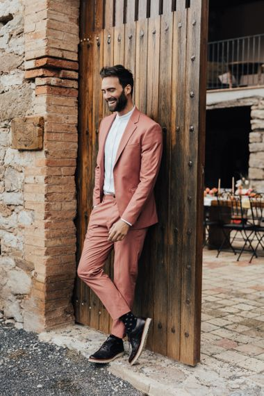 Coral Coloured Wedding Suit