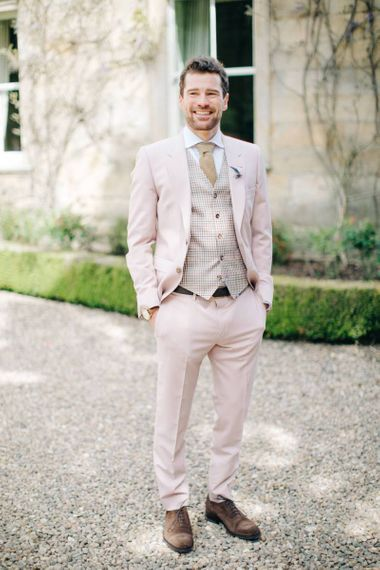 Light Pink Coloured Suit with Check Waistcoat
