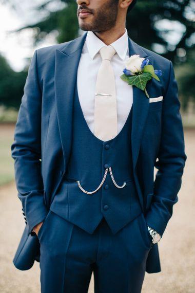 Classic Navy Suit with Horeshoe Waistcoat