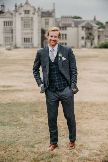 Light Blue Wool Suit with Check Waistcoat