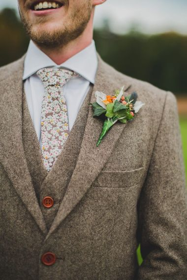 Light Brown Wool Suit with Floral Tie