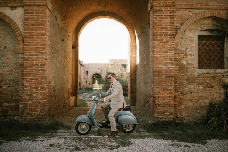 Groom on Scooter   Fairytale Tuscan Wedding with Bride in Embroidered Dress   Andrea & Federica Photography