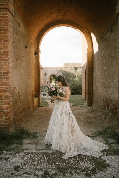 Strapless Embroidered Wedding Dress by Rara Avis   Romantic Bridal Bouquet   Tenuta La Fratta, Tuscany   Fairytale Tuscan Wedding with Bride in Embroidered Dress   Andrea & Federica Photography