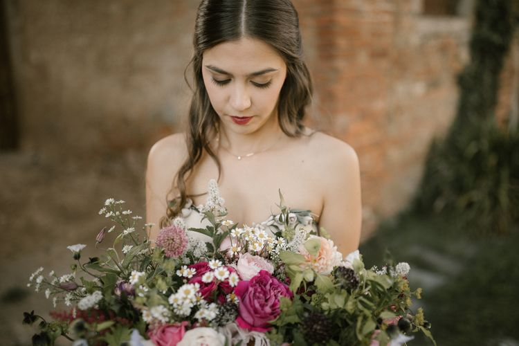 Strapless Embroidered Wedding Dress by Rara Avis   Romantic Bridal Bouquet   Fairytale Tuscan Wedding with Bride in Embroidered Dress   Andrea & Federica Photography