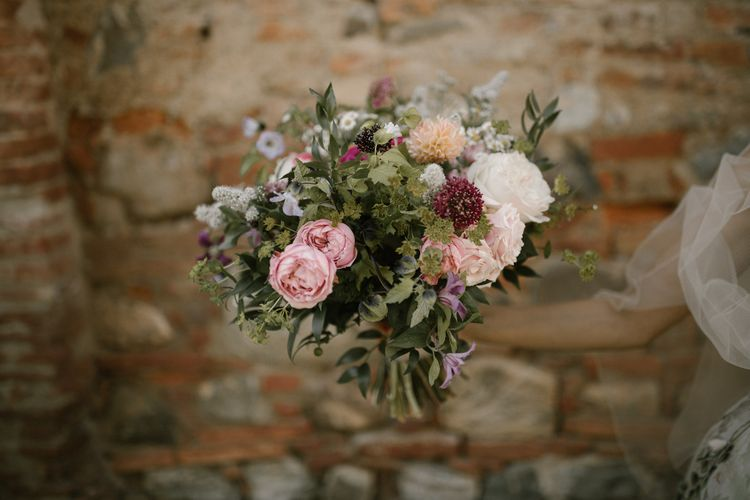 Romantic Bridal Bouquet   Fairytale Tuscan Wedding with Bride in Embroidered Dress   Andrea & Federica Photography