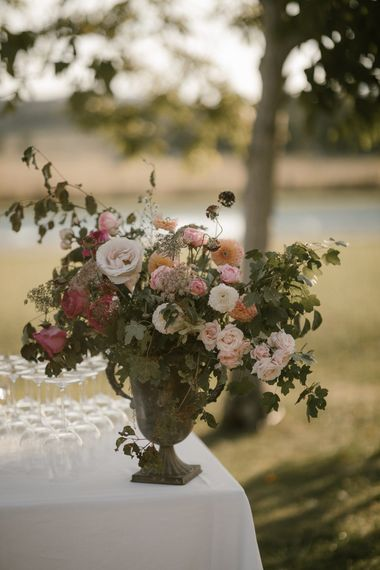Pink Toned Dahlias   Floral Display   Fairytale Tuscan Wedding with Bride in Embroidered Dress   Andrea & Federica Photography