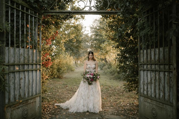 Bride in Strapless Embroidered Wedding Dress by Rara Avis   Fairytale Tuscan Wedding with Bride in Embroidered Dress   Andrea & Federica Photography