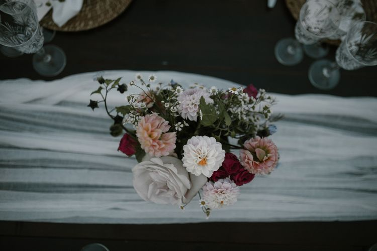 Wedding Reception Decor   Romantic Table Flowers   Soft Linen Table Runner   Fairytale Tuscan Wedding with Bride in Embroidered Dress   Andrea & Federica Photography