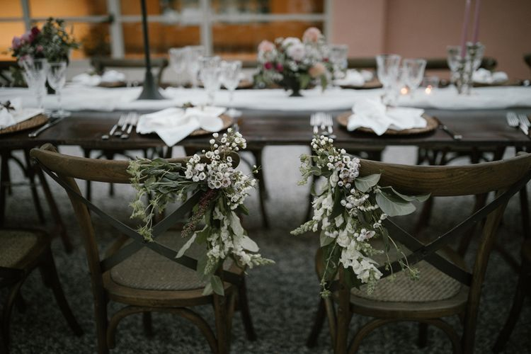 Wedding Reception Decor   Chair Flowers   Soft Linen Table Runner   Fairytale Tuscan Wedding with Bride in Embroidered Dress   Andrea & Federica Photography
