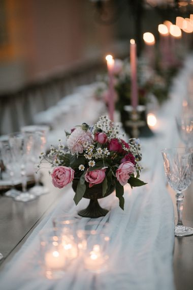 Wedding Reception Decor   Romantic Table Flowers   Soft Linen Table Runner   Pink Tapered Candles   Fairytale Tuscan Wedding with Bride in Embroidered Dress   Andrea & Federica Photography