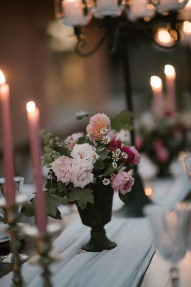 Wedding Reception Decor   Romantic Table Flowers   Pink Tapered Candles   Fairytale Tuscan Wedding with Bride in Embroidered Dress   Andrea & Federica Photography