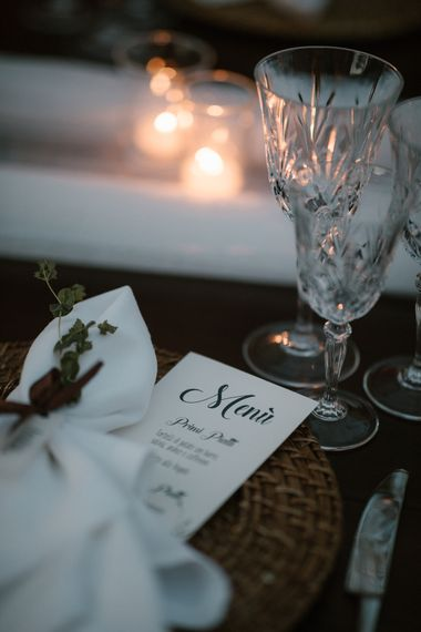 Place Setting   Wedding Breakfast Menu   Fairytale Tuscan Wedding with Bride in Embroidered Dress   Andrea & Federica Photography
