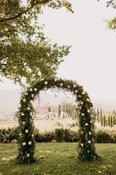 Green Foliage and White Flower Arch Altar