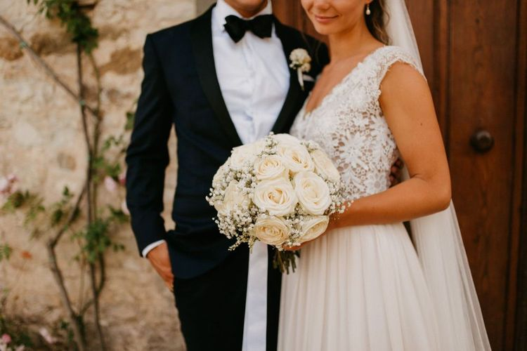 Pure White Rose and Gypsophila Wedding Bouquet