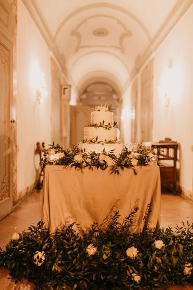 Wedding Cake Table Decorated in Foliage