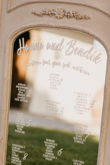 Etched Mirror Table Plan with Ornate Frame