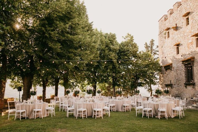 Outdoor Wedding Reception at an Italian Castle