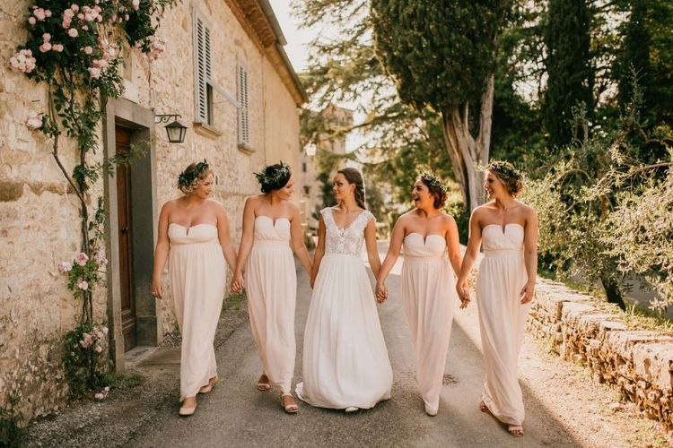 Bridal Party Portrait with Bride in Bespoke Wedding Dress and Bridesmaids in Off The Shoulder Pink ASOS Dresses