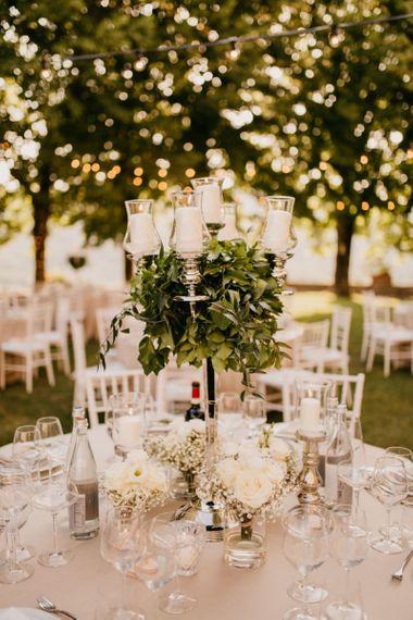 Silver Candelabra Centrepiece with Foliage Wedding Decor