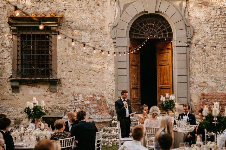 Father of The Bride Outdoor Wedding Speech Under Festoon Lights