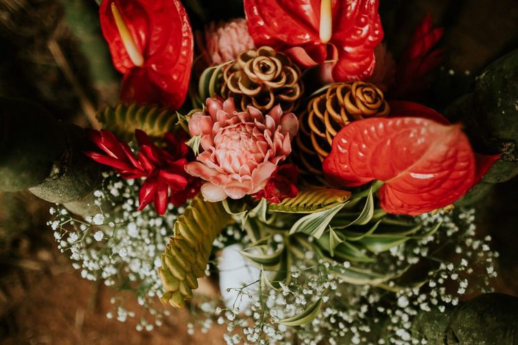 Bright Wedding Flowers for Tropical Day
