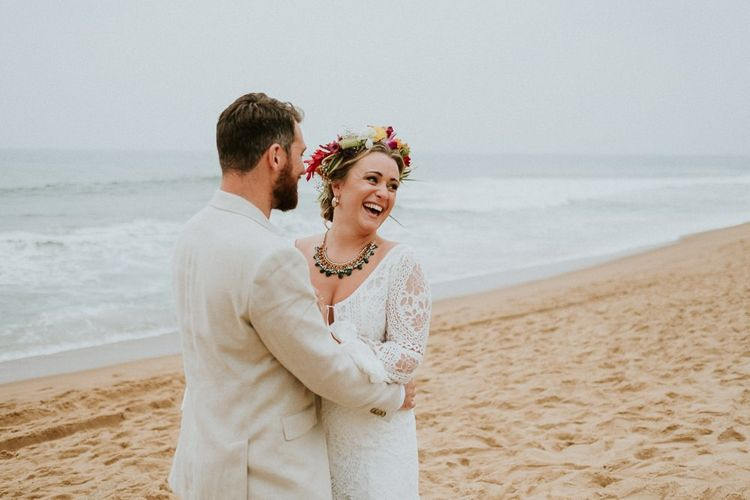 Bride and Groom After Ceremony On Beach
