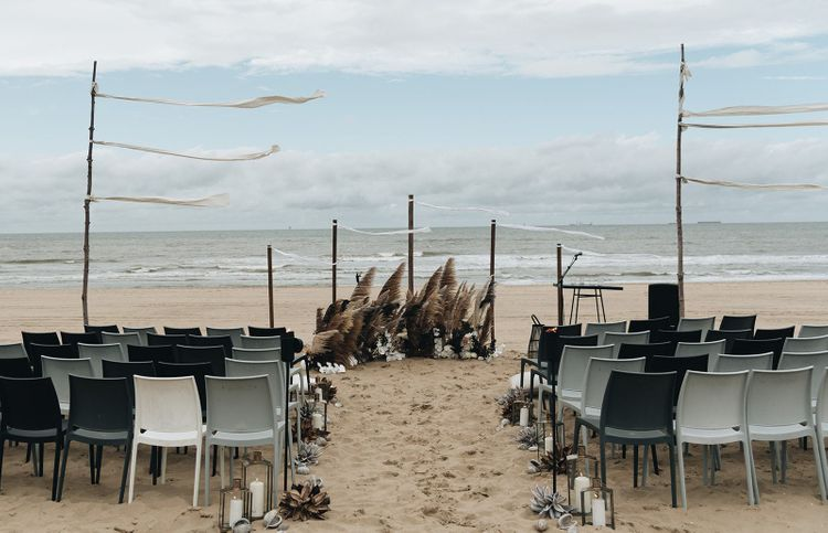Beach Wedding Ceremony with Pampas Grass Altar