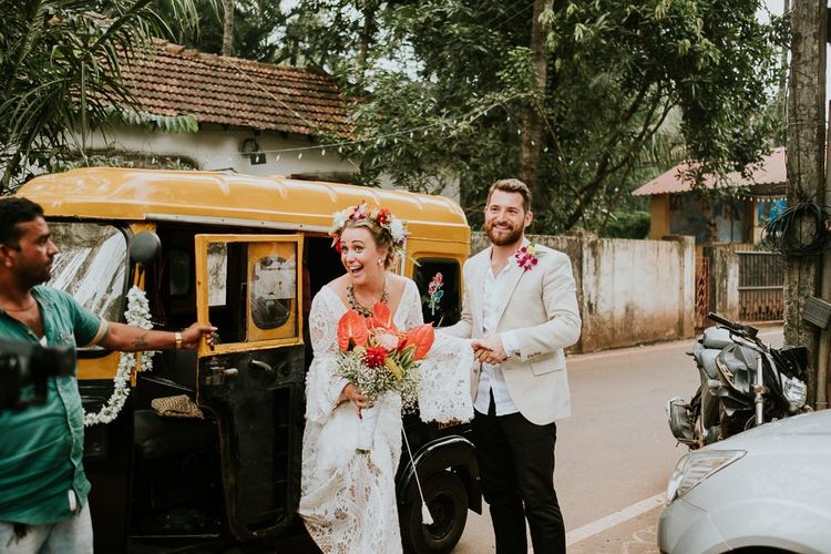 Bride and Groom Get Out Of Tuk Tuk Wedding Transport