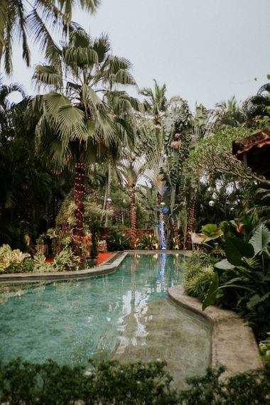 Tropical Wedding Decoration Around Pool