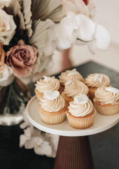 Cupcakes in White Cake Stand