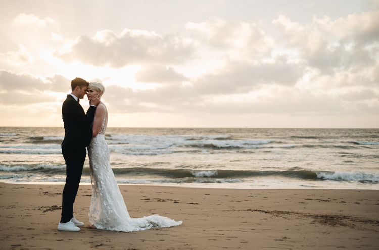 Portrait of Bride and Groom on the Beach